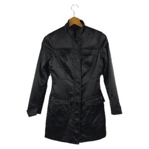 Elie Tahari Black Satin Pocketed Zip Up Jacket XS